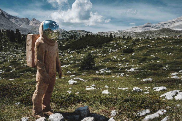 A space man in a mountain prairie, symbolising original research.